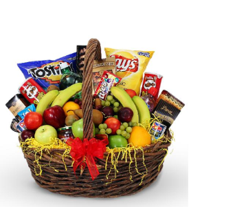 Name your price Fruit & Snack Basket($120 shown) in Chatham ON, Pizazz!  Florals & Balloons