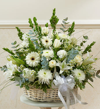 White Sympathy Arrangement in Basket in Silver Spring MD, Colesville Floral Design