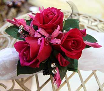 Wrist Corsage Fuschia by Flower Design in San Antonio TX, The Tuscan Rose