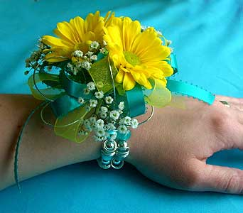Yellow Daisy & Teal Wrist Corsage in San Antonio TX, The Tuscan Rose