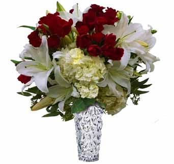 White lilies, roses and tulip vase in Santa Monica CA, Edelweiss Flower Boutique