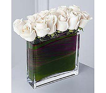 Modern White Rose Bouquet in Bellevue WA, CITY FLOWERS, INC.