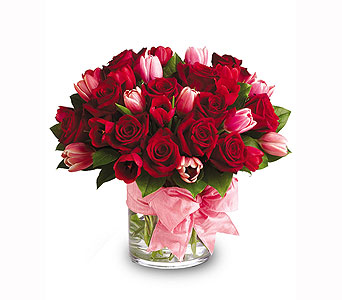 Red Rose and Pink Tulip Bouquet in Bellevue WA, CITY FLOWERS, INC.