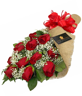 Burlap Blooms: Red Roses in Smithtown NY, James Cress Florist