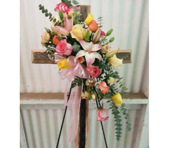 Mixed Roses with Barn Wood Cross in Tyler TX, The Flower Box