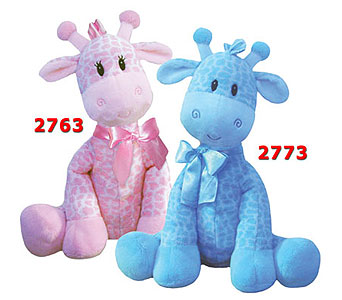 Jingles Giraffe Blue or Pink in Manhasset NY, Town & Country Flowers