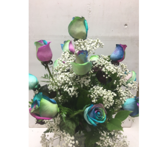 DAZZLE DOZEN RAINBOW ROSES in Port St Lucie FL, Flowers By Susan