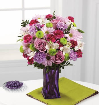 The Purple Pop Bouquet in Chicago IL, Yera's Lake View Florist