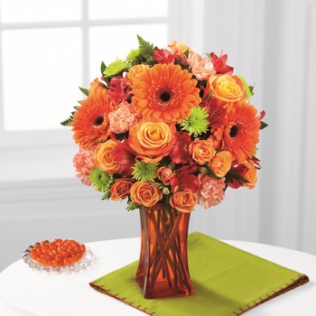 The Orange Escape Bouquet in Chicago IL, Yera's Lake View Florist