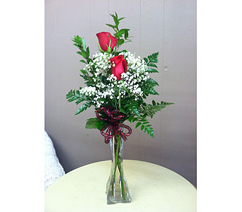 2 Rose Budvase in Creedmoor NC, Gil-Man Florist Inc.