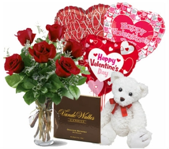 6 Rose Romantic Bundle in Birmingham AL, Norton's Florist