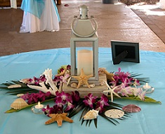 Centerpiece with Lantern and Shells in Stuart FL, Harbour Bay Florist