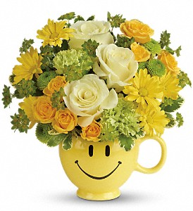 Teleflora's You Make Me Smile Bouquet in Redwood City CA, A Bed of Flowers
