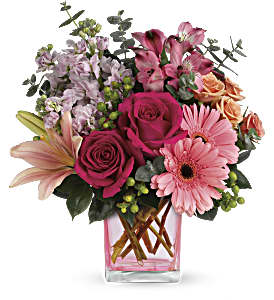 Teleflora's Painterly Pink Bouquet in Hollister CA, Precious Petals