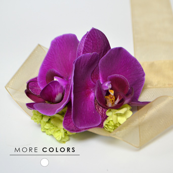 Orchid Dream Corsage in Dallas TX, Dr Delphinium Designs & Events