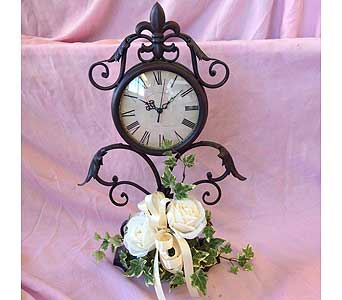 Wrought Iron Clock with Silk Flowers in Portsmouth OH, Kirby's Flowers