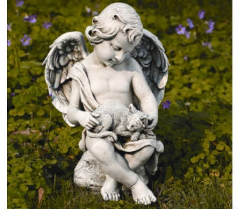 Cherub with Kitten Statue in Warren MI, Downing's Flowers & Gifts Inc.