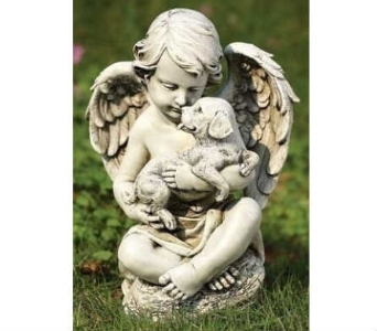 Cherub with Puppy Statue in Warren MI, Downing's Flowers & Gifts Inc.