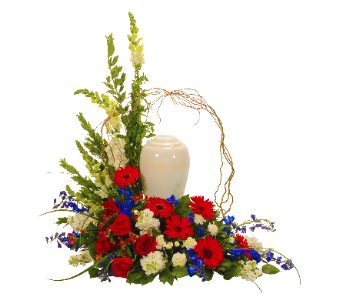 Patriotic Tribute for Urn in Dallas TX, In Bloom Flowers, Gifts and More