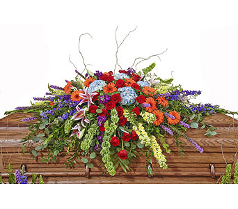 Vivid Euro Garden Casket Spray in Dallas TX, In Bloom Flowers, Gifts and More