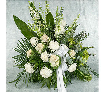 White and Green Funeral Basket in Great Neck NY, United Floral