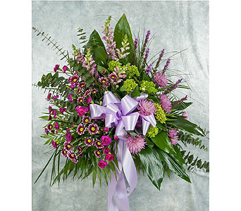 Purple and Green Funeral Basket in Great Neck NY, United Floral