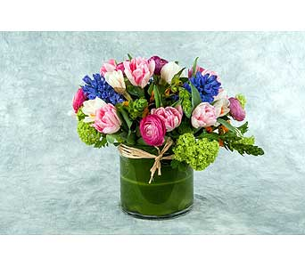 Lush Pink and Blue Arrangement in Great Neck NY, United Floral