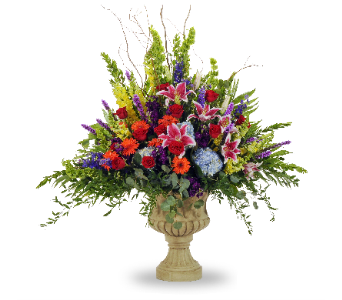 Vivid Euro Pedestal Arrangement in Dallas TX, In Bloom Flowers, Gifts and More
