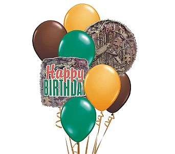 Hunter Camo Birthday Balloon Bouquet in Eugene OR, Dandelions Flowers