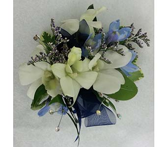 White Dendrobium and Blue Delphinium Corsage in Branford CT, Myers Flower Shop