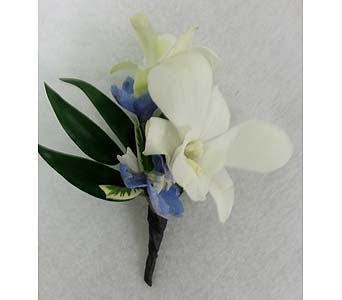 White Dendrobium and Blue Delphinium Boutonniere in Branford CT, Myers Flower Shop