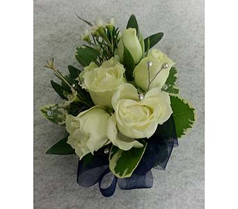White Rose Corsage with Bling in Branford CT, Myers Flower Shop