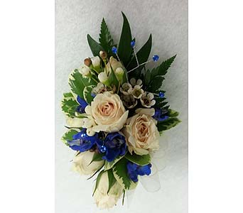Rose and Delphinium Corsage in Branford CT, Myers Flower Shop