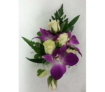 Purple Dedrobium and White Rose Corsage in Branford CT, Myers Flower Shop