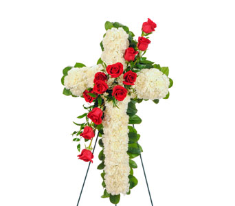 Roses & carnations Easel Cross Display in Dallas TX, In Bloom Flowers, Gifts and More
