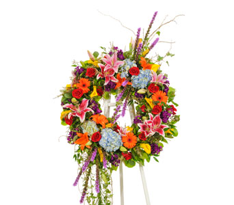 Vivid Euro Wreath Display in Dallas TX, In Bloom Flowers, Gifts and More