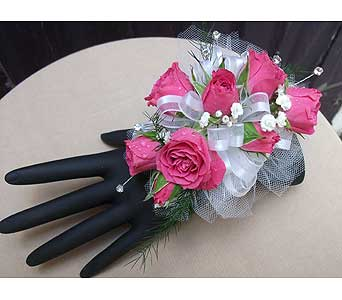Hot Pink Wrist Corsage with Rhinestones in West Los Angeles CA, Westwood Flower Garden