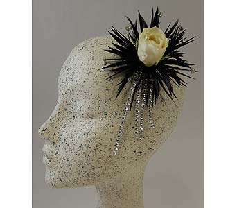 Edgy Feather Hairpiece in Bloomington IL, Forget Me Not Flowers