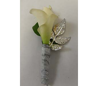 Mini Calla Boutonniere in Bloomington IL, Forget Me Not Flowers