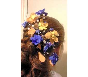 Blue Head piece in Fairless Hills PA, Flowers By Jennie-Lynne