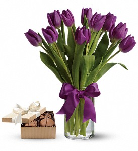 Passionate Purple Tulipswith chocolates in Houston TX, Fancy Flowers