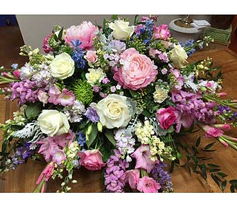Pastel Casket Spray in Brownsburg IN, Queen Anne's Lace Flowers & Gifts