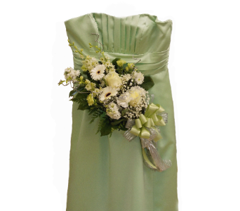 Green Dress - Arm Bouquet in East McKeesport PA, Lea's Floral Shop