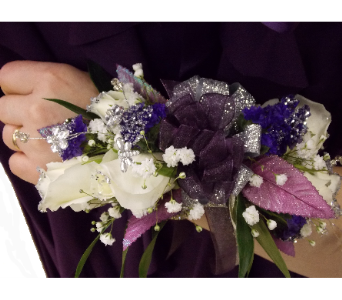 Dark Purple Dress - Wrist Corsage  in East McKeesport PA, Lea's Floral Shop