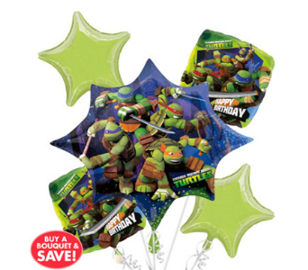 TMNT 5 Pack Balloon Bouquet in Chatham ON, Pizazz!  Florals & Balloons