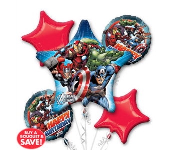 Avengers 5 Pack Balloon Bouquet in Chatham ON, Pizazz!  Florals & Balloons