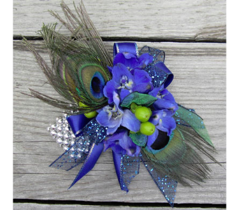 Peacock Corsage in Lawrence KS, Owens Flower Shop Inc.