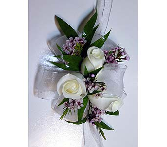Triple White Rose Wrist Corsage in Barrie ON, The Flower Place