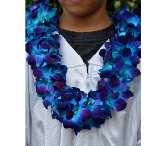Blue Orchid Lei in Upland CA, Suzann's Flowers