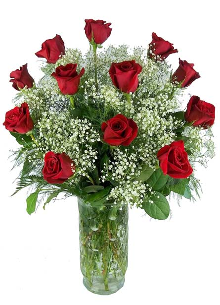 Dozen Red Roses in Retro Vase. in Newport News VA, Pollards Florist